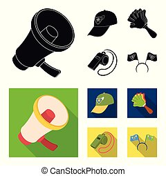 Megaphone, whistle and other attributes of the fans.Fans set collection icons in black, flat style vector symbol stock illustration web.