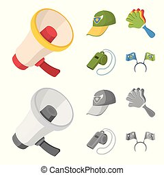 Megaphone, whistle and other attributes of the fans.Fans set collection icons in cartoon,monochrome style vector symbol stock illustration web.