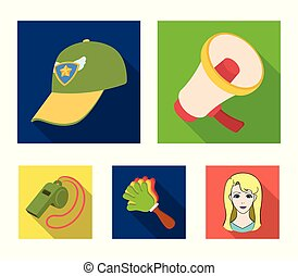 Megaphone, whistle and other attributes of the fans.Fans set collection icons in flat style vector symbol stock illustration web.