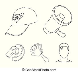 Megaphone, whistle and other attributes of the fans.Fans set collection icons in outline style vector symbol stock illustration web.