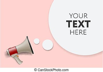 Megaphone white bubble for social media marketing concept. ...