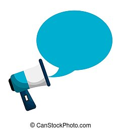 megaphone with bubble callout box vector illustration