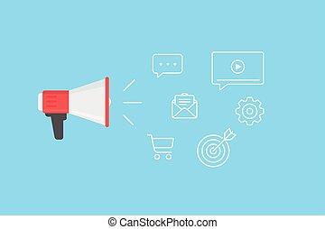 Megaphone with cloud of digital marketing icons. Digital marketing, advertising, social media, e-commerce concept