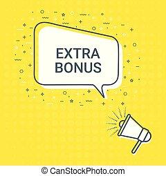 Megaphone With Extra Bonus Speech Bubble. Loudspeaker. Illustrations For Promotion Marketing For Prints And Posters, Menu Design, Shop Cards, Cafe, Restaurant Badges, Tags, Packaging etc.