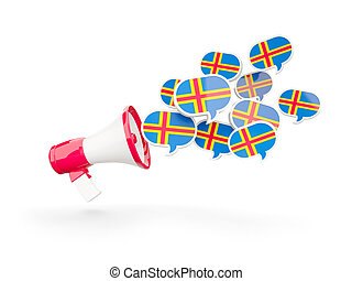 Megaphone with flag of aland islands