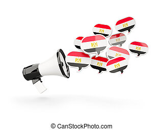 Megaphone with flag of egypt