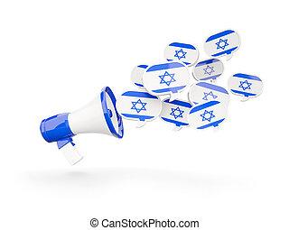 Megaphone with flag of israel