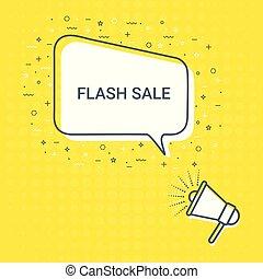 Megaphone With Flash Sale Speech Bubble. Loudspeaker. Illustrations For Promotion Marketing For Prints And Posters, Menu Design, Shop Cards, Cafe, Restaurant Badges, Tags, Packaging etc.