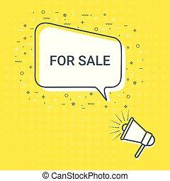 Megaphone With For Sale Speech Bubble. Loudspeaker. Illustrations For Promotion Marketing For Prints And Posters, Menu Design, Shop Cards, Cafe, Restaurant Badges, Tags, Packaging etc.