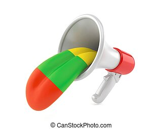 Megaphone with lithuanian tongue isolated on white ...