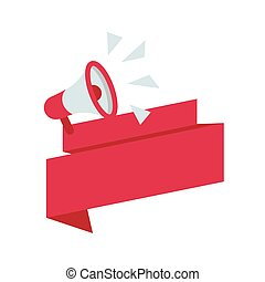 megaphone with pink ribbon label icon