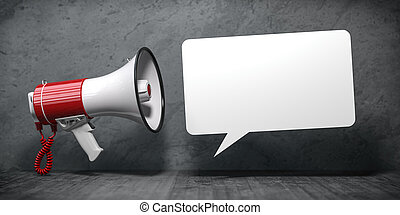 Megaphone with speech bubble for announcement text. Marketing and communication.