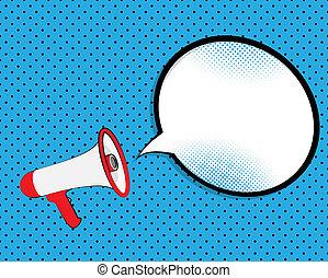 Megaphone with speech bubble.  Illustration