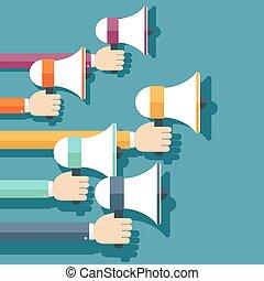 megaphones., mensen houdend hands