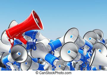 Megaphones. Promotion and advertising, digital marketing or social network. Leader of protest or revolution  concept.