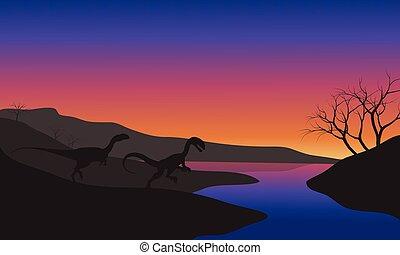 Megapnosaurus in riverbank scenery silhouette