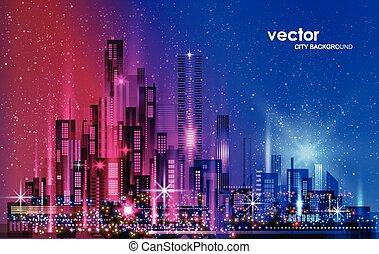 megapolis, grattacieli, architettura, cityscape, città, illustrazione, costruzioni, notte, costruzioni, illuminato, orizzonte, strada, downtown.