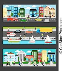 megapolis, industriel, ensemble, moderne, illustration, vecteur, cityscape, bannières