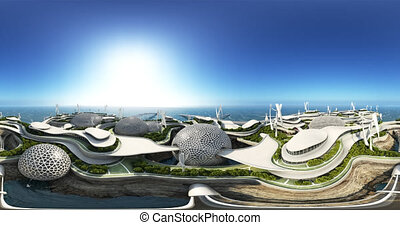 Megapolis island concept. A futuristic city on the water. 360 animation 4K