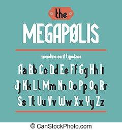 megapolis, oeil caractère, noir