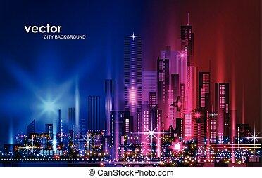 megapolis, wolkenkratzer, architektur, cityscape, stadt, abbildung, gebäude, nacht, gebäude, erleuchtet, skyline, straße, downtown.