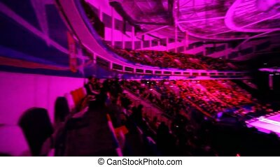 Megasport complex full of people watching ice show - MOSCOW...