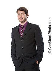 megelégedett, fiatal, üzletember