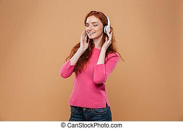 megelégedett, zene hallgat, csörgőréce, portré, mosolyog lány