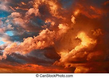 meget, dramatiske, solnedgang, cloudscape