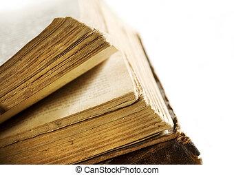 meget, gamle, book's, sider, closeup