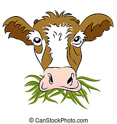 megetetett, fű, tehén