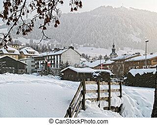 megeve, refúgio esqui, em, alpes francês, sob, neve