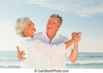 megfontolt összekapcsol, tánc, a parton