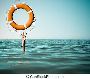 megfullad, ember, noha, rised, kéz, kinyerés, mentőbólya,...