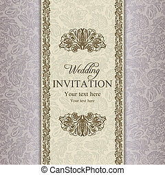 meghívás, barokk, arany, esküvő
