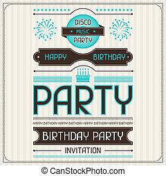 meghívás, kártya, helyett, születésnap, alatt, retro, style.