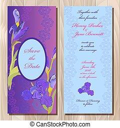 meghívás, vektor, esküvő, kártya, bíbor virág, ábra, írisz, háttér.