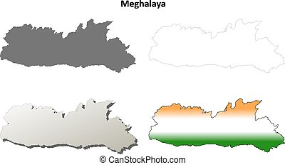 Meghalaya blank detailed outline map set