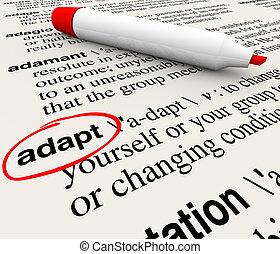 meghatározás, szó, szótár, alkalmazkodik, túlél, cserél