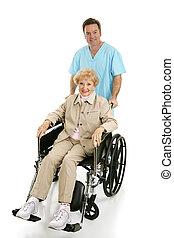 meghibásodott, idősebb ember, &, ápoló