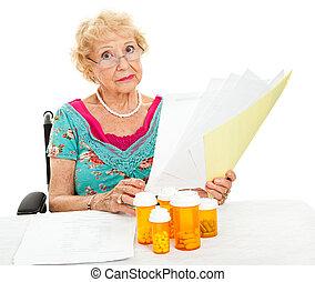 meghibásodott, idősebb ember, arc, orvosi, költségek