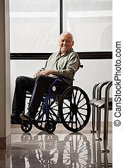 meghibásodott, idősebb ember, boldog, ember