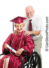 meghibásodott, idősebb ember, diplomás, és, férj
