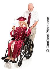 meghibásodott, idősebb ember, hölgy, érettségizik, noha, érdemjel
