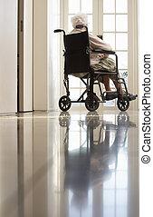meghibásodott, tolószék, nő, idősebb ember, ülés