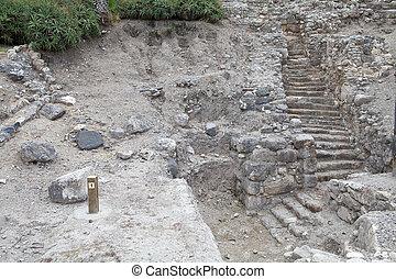 Megiddo city gate ruins at the Megiddo archaeological site, ...