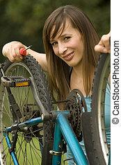 megjavítás, a, bicikli