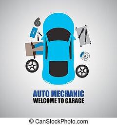 megjavítás, autó, alatt, szerelő, autó, szerelő