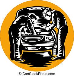 megjavítás, autó, autószerelő, jármű