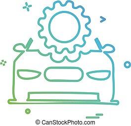 megjavítás, bekapcsol, autó, vektor, tervezés, beállítás, ikon